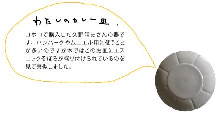 コホロで購入した久野靖史さんの器です。ハンバーグやムニエル用に使うことが多いのですが本ではこのお皿にエスニックそぼろが盛り付けられているのを見て真似しました。