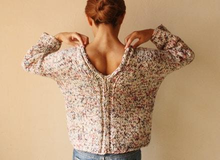 まっすぐ編む2本どりセーター 着用写真