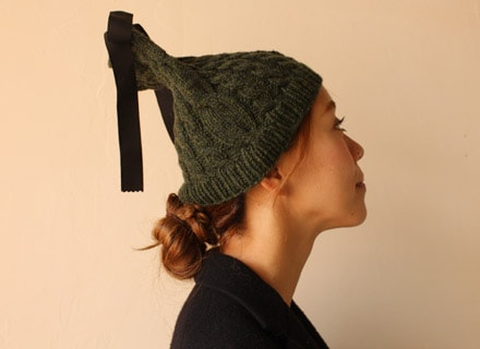 なわ編みの帽子 着用写真