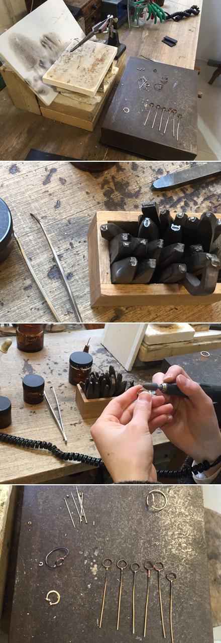 火をあてる、金属を叩く、のばす、磨く…etc。いくつもの工程も経て作品が完成する。