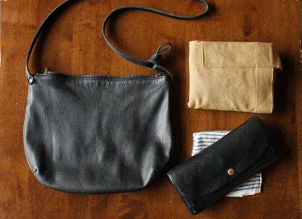 右上に丸めているのがお買い物バッグ。想像以上にコンパクトになるのでとっても便利。